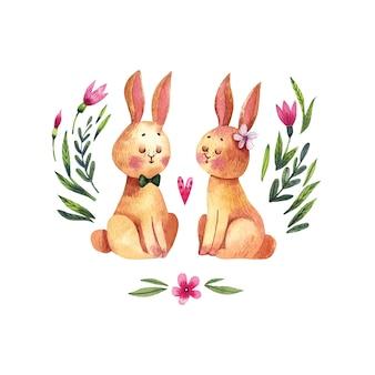 花のかわいいウサギとロマンチックな水彩イラスト。花の背景に愛のウサギのカップル。