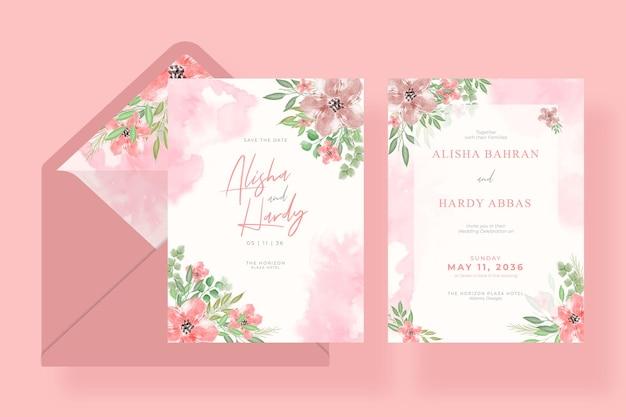 封筒とロマンチックな水彩結婚式の招待状のテンプレート