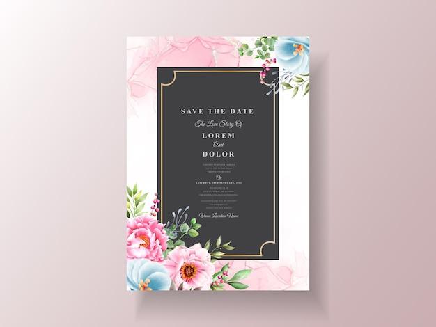 Шаблон приглашения на свадьбу в стиле акварели