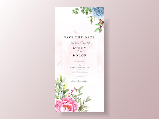 ロマンチックな水彩画の結婚式の招待状のテンプレート