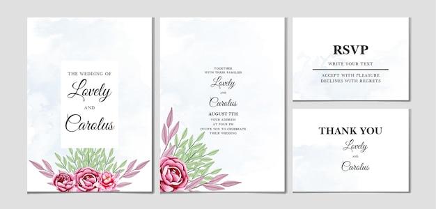 Шаблон приглашения на свадьбу в стиле акварели Premium векторы