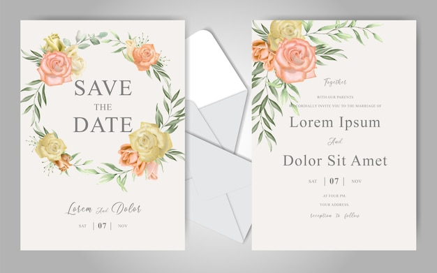 Romantic watercolor wedding stationary with  beautiful roses