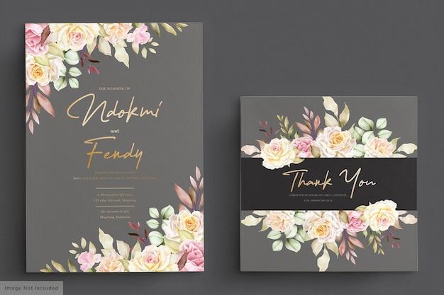 Romantic watercolor white roses wedding invitation card set