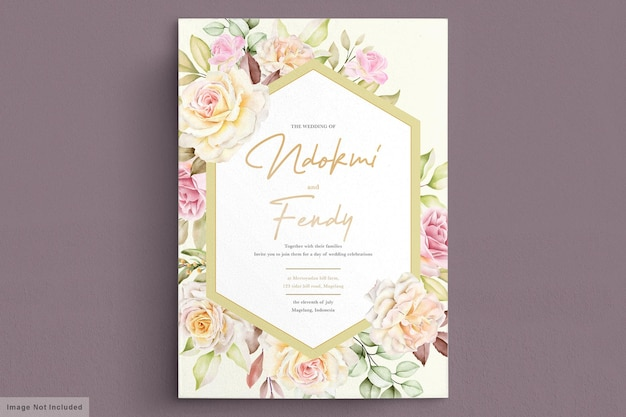 Romantic watercolor white roses wedding invitation card