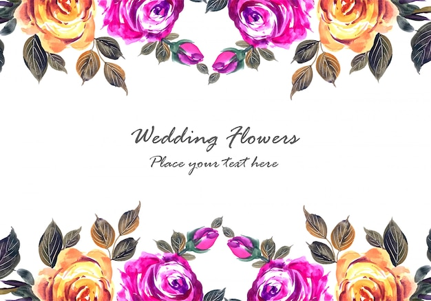 Romantic wedding beautiful flowers card template