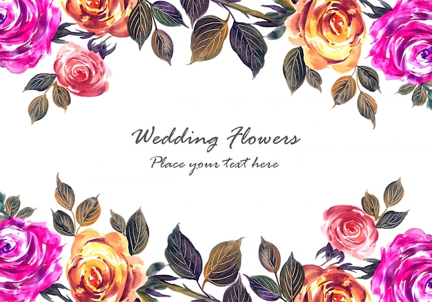 Romantic wedding beautiful flowers card template