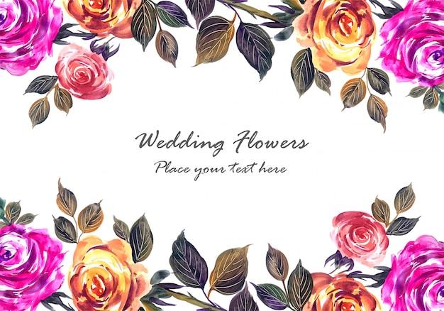 ロマンチックな結婚式の美しい花カードテンプレート