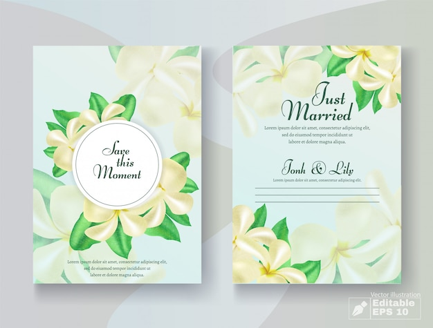Romantic wedding card set with flower