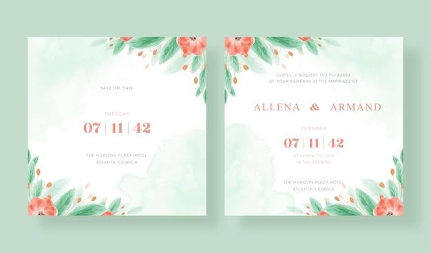 美しい花の水彩画とロマンチックなウェディングカードの正方形