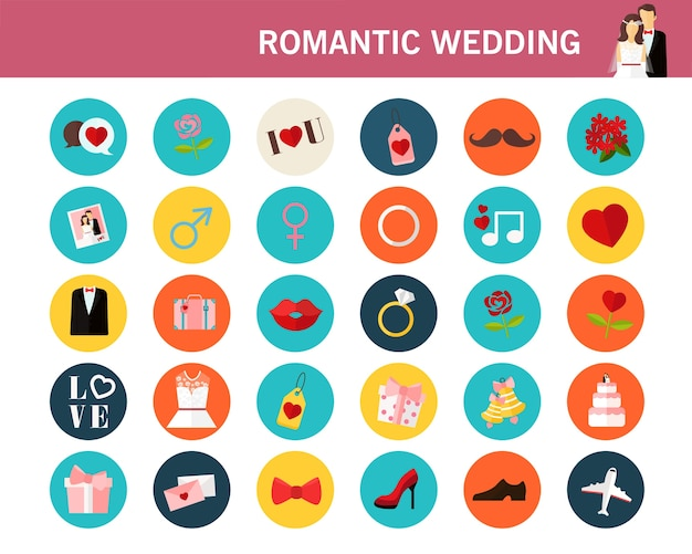 Romantic wedding consept flat icons.
