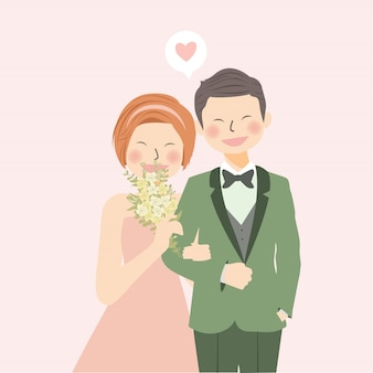 Romantic wedding couple holding hand and laughing with flower bouquet