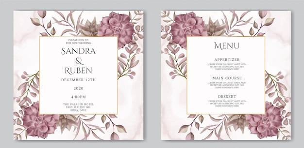 ジューシーな花のフレームとロマンチックな結婚式の招待カードとメニューテンプレート