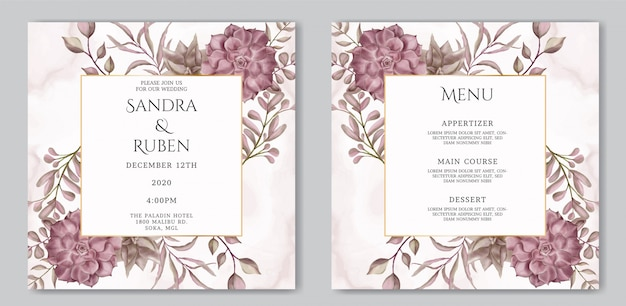 Romantic wedding invitation card and menu template with succulent floral frame
