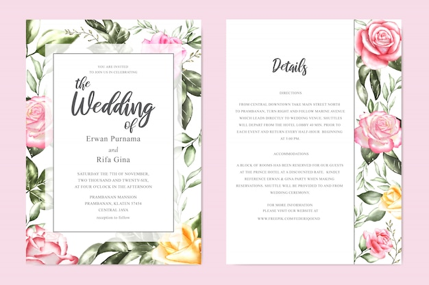 Romantic wedding invitation card template design