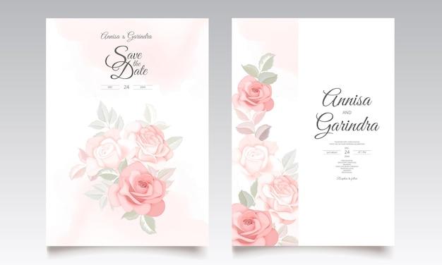 美しい花の葉で設定されたロマンチックな結婚式の招待カードテンプレート