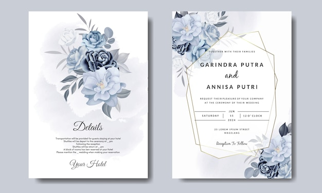 Romantic  wedding invitation card template set with  blue  floral leaves