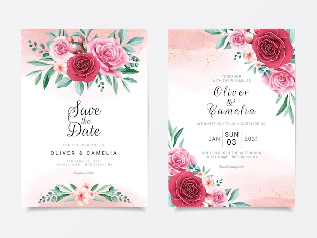 Romantic wedding invitation card template set with burgundy and peach watercolor flowers