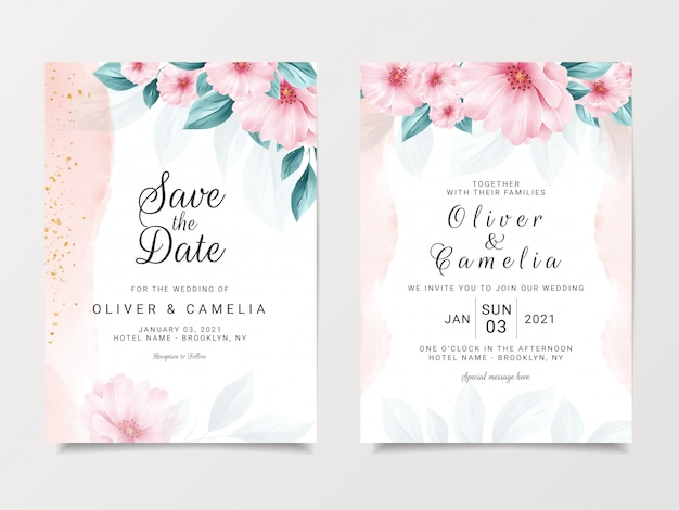 Romantic wedding invitation card template set with floral and watercolor background