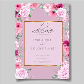 ローズ、コスモスの花、葉で設定されたロマンチックな結婚式の招待カードテンプレート