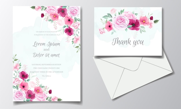 Romantic wedding invitation card template set with rose  cosmos flowers  and leaves