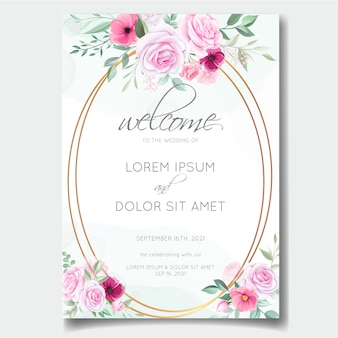 Romantic wedding invitation card template set with rose, cosmos flowers, and leaves