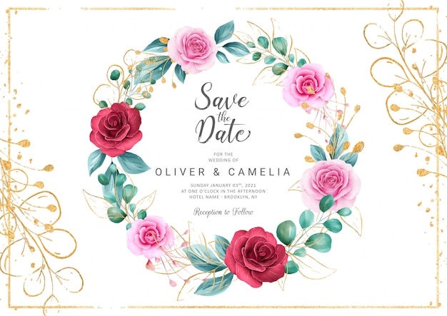 Romantic wedding invitation card template set with watercolor floral wreath and gold glitter