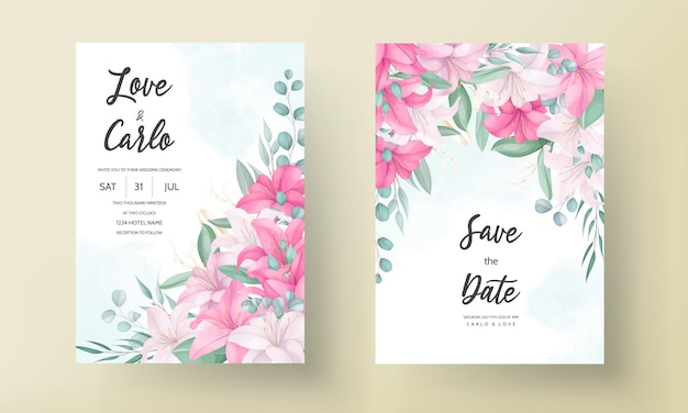 아름다운 백합 꽃과 잎이 있는 낭만적인 결혼식 초대 카드