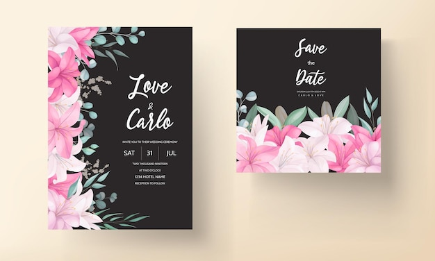 Romantic wedding invitation card with beautiful lily floral and leaves
