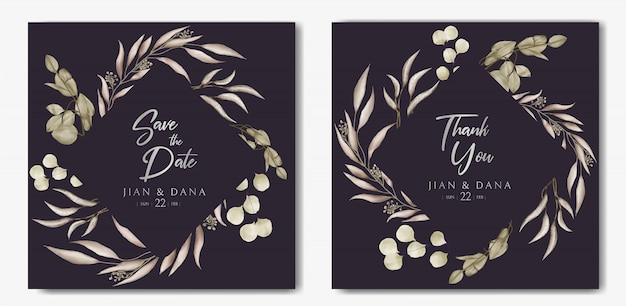 Romantic wedding invitation card with floral frame on dark paper