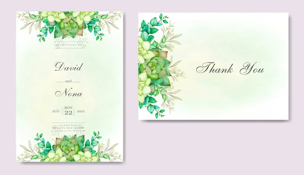 葉と多肉植物のロマンチックな結婚式の招待カード