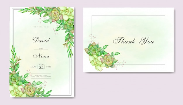 Romantic wedding invitation card with leaves and succulent