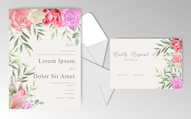 Романтические свадебные приглашения с красивыми розами