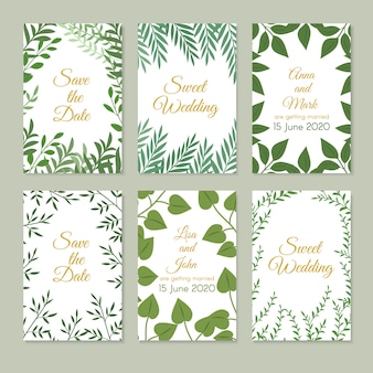 Romantic wedding invitation cards with green garden decoration, leaves and branches. spring floral art vector set