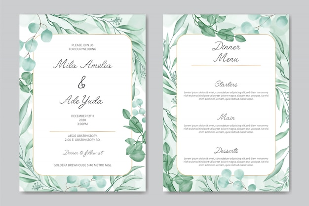 Romantic wedding invitation and dinner menu template with floral ornament and gold frame