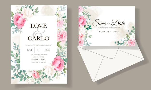 로맨틱 결혼식 초대 꽃 카드 서식 파일