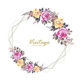 Romantic wedding invitation flowers frame card