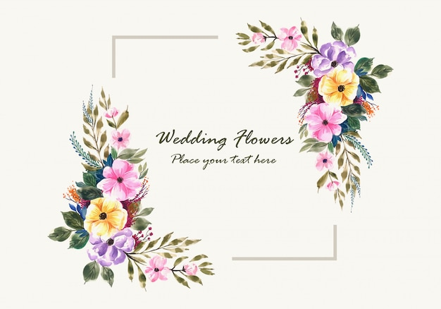 Romantic wedding invitation flowers frame card