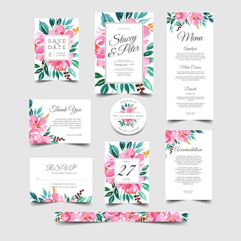 Romantic wedding invitation set floral