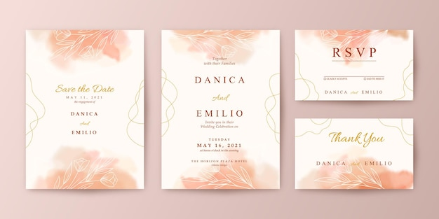 Romantic wedding invitation set with watercolor background