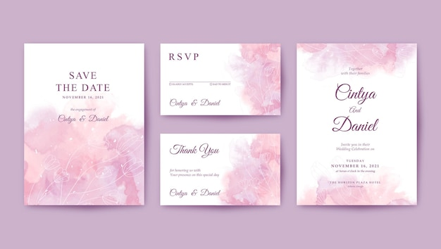 Romantic wedding invitation template with beautiful watercolor background