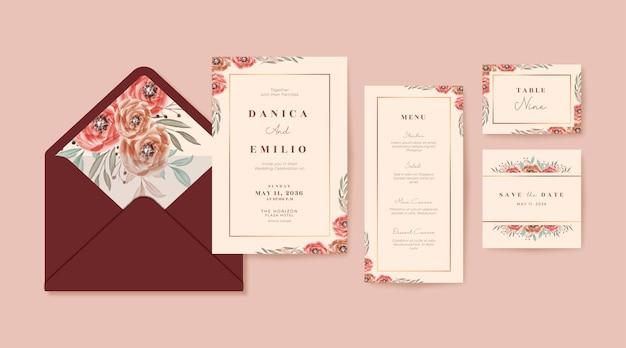 ブルゴーニュの花を持つロマンチックな結婚式の招待状のテンプレート