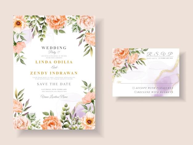 Шаблон приглашения на романтическую свадьбу с цветочным рисунком