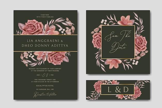 Шаблон романтического свадебного приглашения с акварельной цветочной золотой рамкой