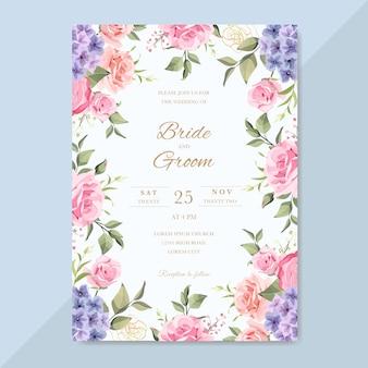 美しい花とロマンチックな結婚式の招待状