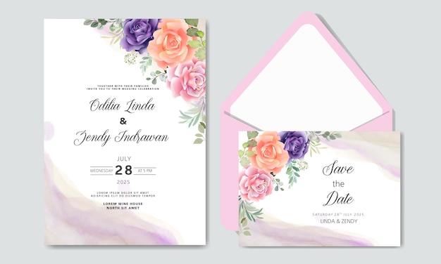 封筒と美しい花でロマンチックな結婚式の招待状