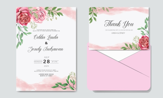Romantic wedding invitation with beautiful flowers with envelope