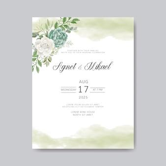 美しい花でロマンチックな結婚式の招待状