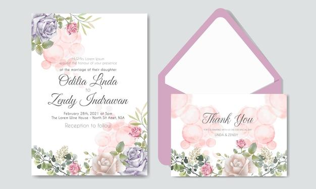 Romantic wedding invitation with beautiful flowers