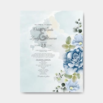 Romantic wedding invitation with beautiful flowers