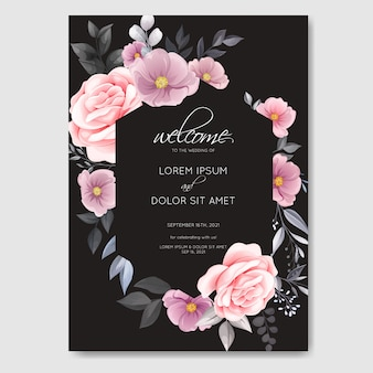 Romantic wedding invitation with beautiful rose and cosmos flower watercolor